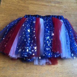 Patriotic red, white & blue tutu One Size so cute